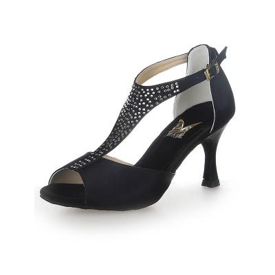 Women's T-Strap Peep Toe Buckle Satin Stiletto Heel Dance Shoes