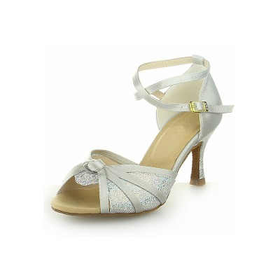 Women's Peep Toe With Sparkling Glitter Satin Stiletto Heel Dance Shoes