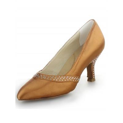 Women's Satin Closed Toe Cone Heel With Rhinestone High Heels