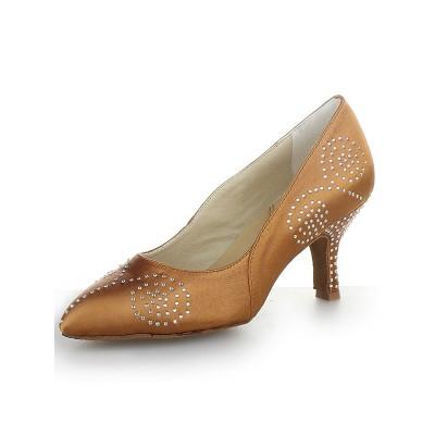 Women's Closed Toe Satin Cone Heel With Rhinestone High Heels