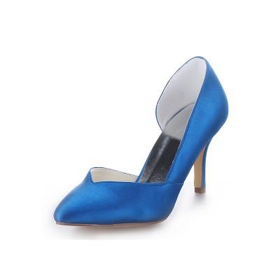 Women's Cone Heel Satin Closed Toe High Heels