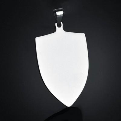 Titanium Steel Shield Shape Personalized Photo Engraved Pendant Necklace