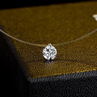 Simple Temperament Zircon Necklace Invisible Line Chain