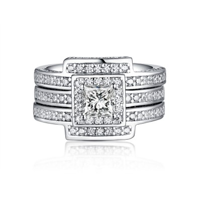 Round Cut 925 Sterling Silver White Sapphire Halo 3 Piece Ring Sets