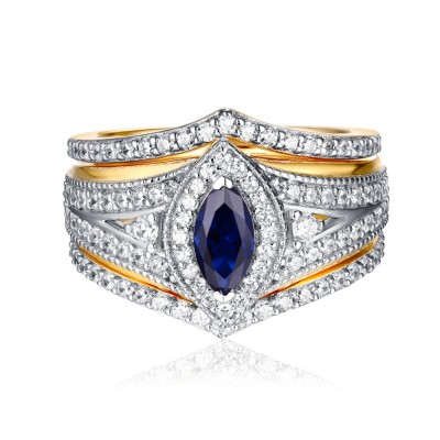 Marquise Cut Gold S925 White Sapphire & Sapphire 3 Piece Halo Ring Sets