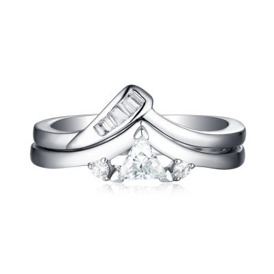 Trillion Cut 925 Sterling Silver White Sapphire 3-Stone Ring Sets