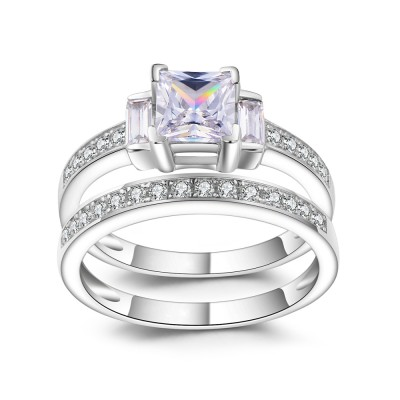 1/3CT Princess Cut Gemstone Sterling Silver Bridal Ring Sets
