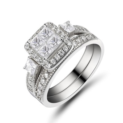 Women's Princess Cut 925 Sterling Silver White Sapphire Bridal Sets