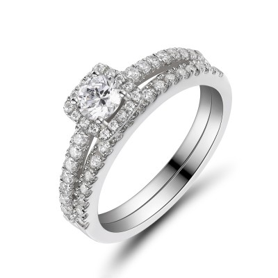 White Sapphire 925 Sterling Silver Round Cut Bridal Sets