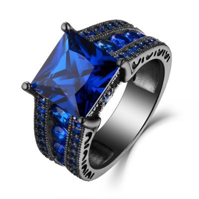 Blue Sapphire Princess Cut Black 925 Sterling Silver Engagement Rings