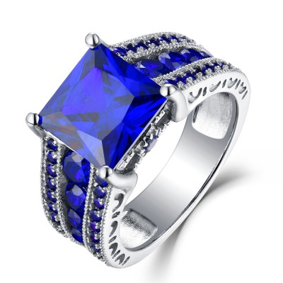 Princess Cut Blue Sapphire 925 Sterling Silver Engagement Rings