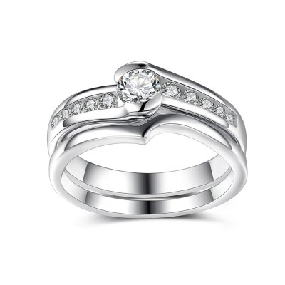 Elegant Round Cut White Sapphire Sterling Silver Bridal Sets