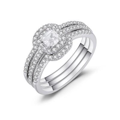 Asscher Cut White Sapphire 925 Sterling Silver Bridal Sets