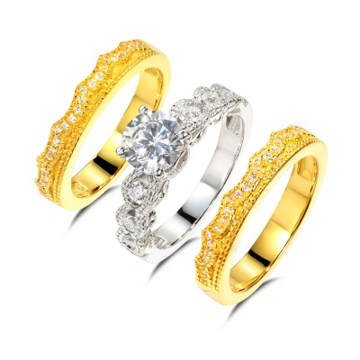 Round Cut White Sapphire 925 Sterling Silver Gold 3 Piece Ring Sets