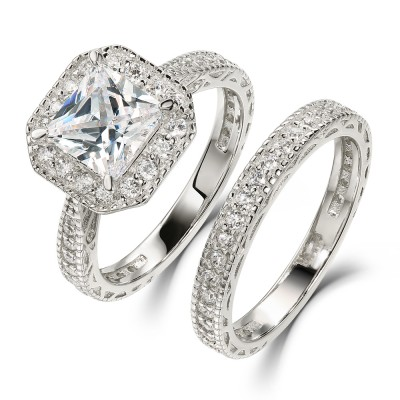 Princess Cut White Sapphire 925 Sterling Silver Halo Ring Sets
