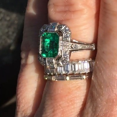 Asscher Cut Emerald Halo 3-Piece 925 Sterling Silver Bridal Sets