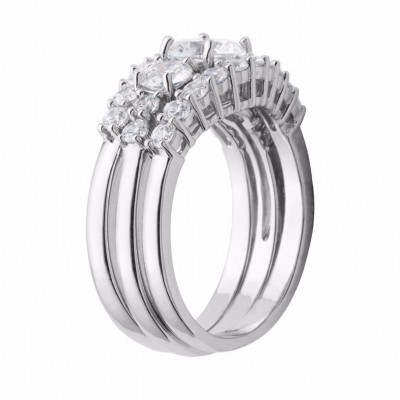 Round Cut White Sapphire 925 Sterling Silver 3-Stone Trio Bridal Sets
