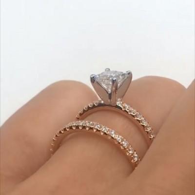 Princess Cut White Sapphire 925 Sterling Silver Rose Gold Bridal Sets