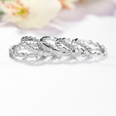 5 Pieces Round Cut White Sapphire Stack Eternity Bands Set