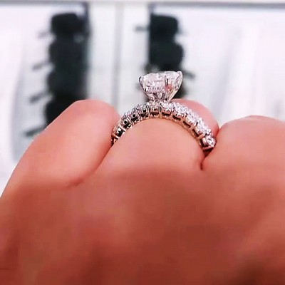 Radiant Cut White Sapphire 925 Sterling Silver Bridal Sets