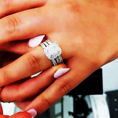 Emerald Cut White Sapphire 925 Sterling Silver 3-Piece Halo Bridal Sets