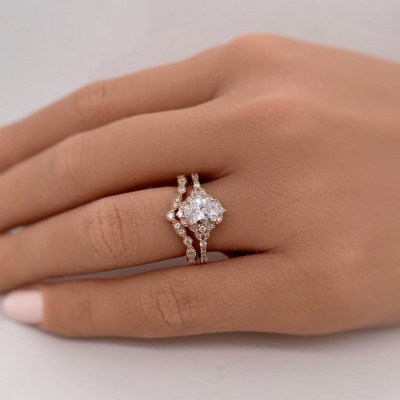 Oval Cut White Sapphire Rose Gold 925 Sterling Silver Halo Bridal Sets