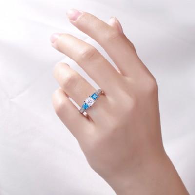 Princess Cut Aquamarine & White Sapphire S925 Three-Stone Engagement Rings