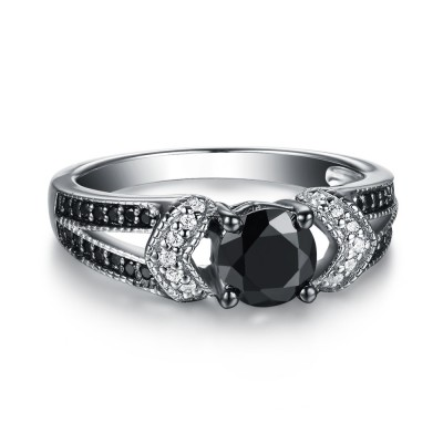 Round Cut 925 Sterling Silver Black & White Sapphire Engagement Rings