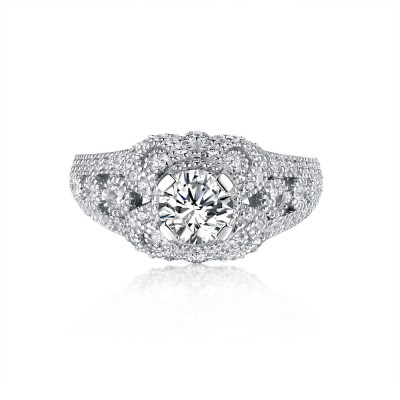 Round Cut S925 Silver White Sapphire Classic Engagement Rings