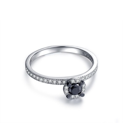 Round Cut 1/3CT Black Gemstone Sterling Silver Engagement Ring
