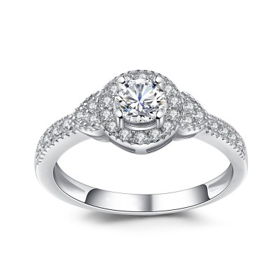 Round Cut 1/8CT Gemstone Sterling Silver Engagement Ring