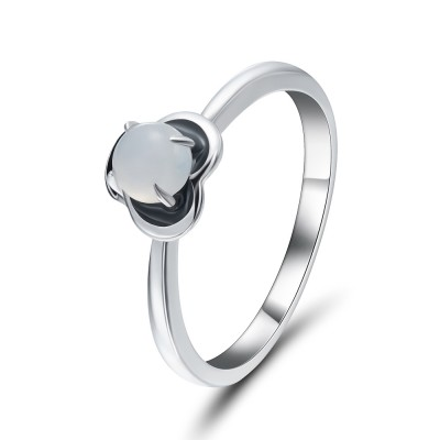 Round Cut Gemstone 925 Sterling Silver Promise Rings For Her