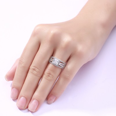 Amazing Princess Cut 925 Sterling Silver Women's Engagement Ring