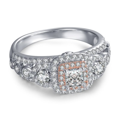 Past Present Future Round Cut Sterling Silver Women's Engagement Ring