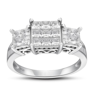 925 Sterling Silver Princess Cut White Sapphire Women's Engagement Ring