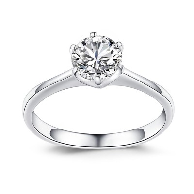 Gemstone Round Cut 925 Sterling Silver Engagement Ring