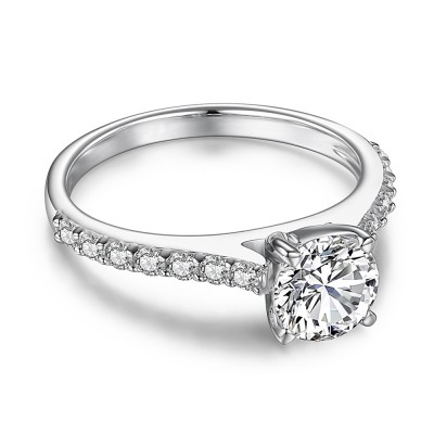 Classic Round Cut White Sapphire Sterling Silver Women's Engagement Ring