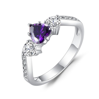 Heart Cut Amethyst 925 Sterling Silver Birthstone Rings