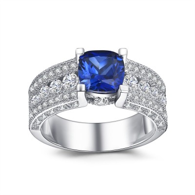 Round Cut Sapphire 925 Sterling Silver Engagement Ring
