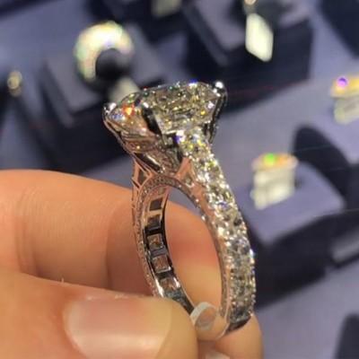 Asscher Cut White Sapphire 925 Sterling Silver Engagement Rings