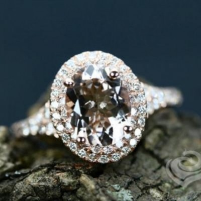 Oval Cut White Sapphire 925 Sterling Silver Halo Rose Gold Engagement Rings