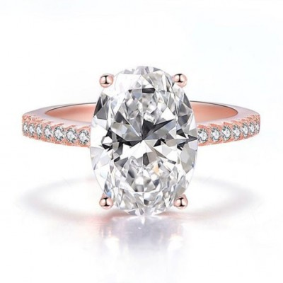 Oval Cut White Sapphire 925 Sterling Silver Rose Gold Engagement Rings