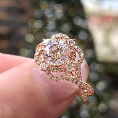 Round Cut White Sapphire 925 Sterling Silver Halo Rose Gold Engagement Rings
