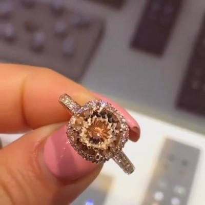 Round Cut Champagne Sapphire 925 Sterling Silver Rose Gold Engagement Rings