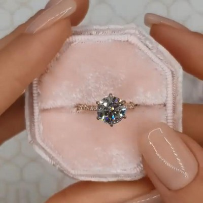 Round Cut White Sapphire 925 Sterling Silver Rose Gold Halo Rings