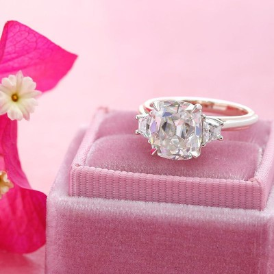 Cushion Cut White Sapphire 925 Sterling Silver Three-stone Engagement Rings