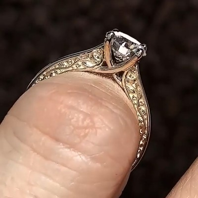 Round Cut White Sapphire 925 Sterling Silver Gold Classic Engagement Rings