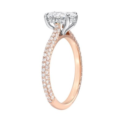 Oval Cut White Sapphire 925 Rose Gold Halo Engagement Rings