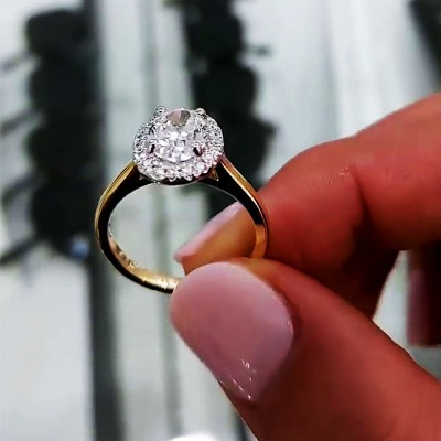 Oval Cut White Sapphire Gold 925 Sterling Silver Halo Engagement Rings