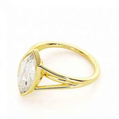 Marquise Cut White Sapphire Gold 925 Sterling Silver Engagement Rings